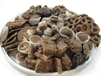 They contain almond toffee, peanut butter cups, caramels, tortoise, peanut clusters, coconut clusters, raisin bark, puff 'n' stuff, mini pretzels, and potato chips.